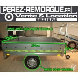 Remorque 2m roue sous châssis basculante porte échelle Perez-remorque Béziers