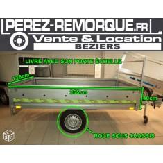 Remorque sorel 2m55 roue sous chassis basculante Perez-remorque Béziers