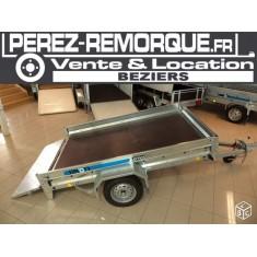 Remorque plateau avec mini ridelles basculante Perez-remorque Béziers