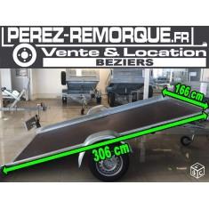 Remorque plateau basculante 306 x 166 Sorel verin Perez-remorque Béziers