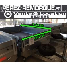 Remorque 2m55x1m6 2 essieux sous chassi de 1000kg Perez-remorque Béziers
