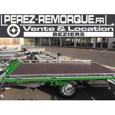 Remorque plateau basculant 3,40 x 1,80m Perez-remorque Béziers