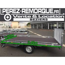 Remorque plateau basculant avec hayon 3,4 x 1,8m Perez-remorque Béziers