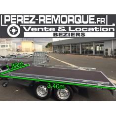 Remorque 2 essieux plateau 3,40 x 1,80m Perez-remorque Béziers