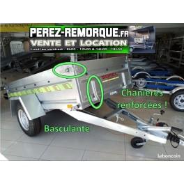 Remorque PRO freinée 253x129x50cm Perez-remorque Béziers