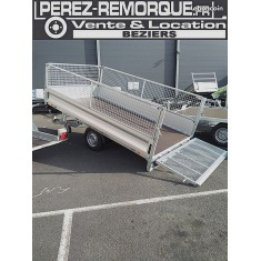 REMORQUE 3.4 x 1.8m + RIDELLES + REHAUSSES + HAYON Perez-remorque Béziers