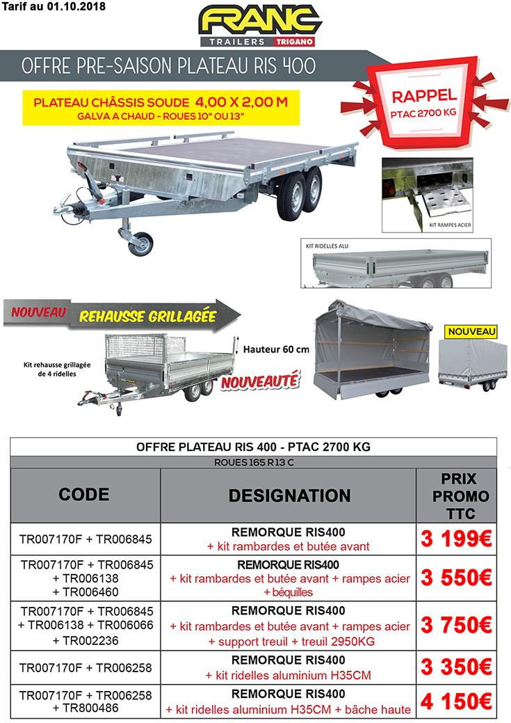 Remorque plateau RIS400